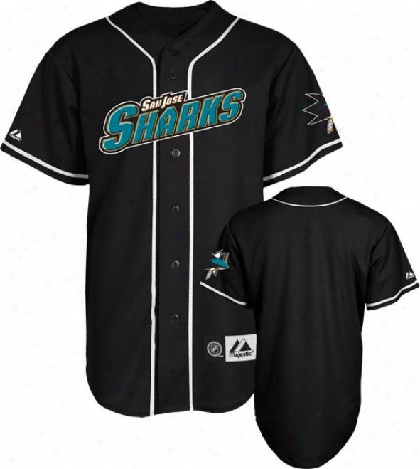 San Jose Sharks Jersey: Black Nhl Replica Baqeball Jersey