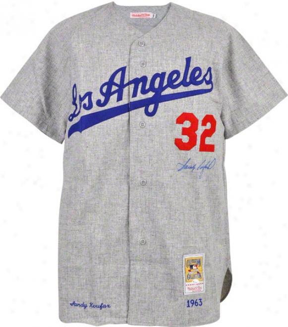 Sandy Koufax Autographed Jersey  Details: Los Angeles Dodgers, M & N, Throwbzck