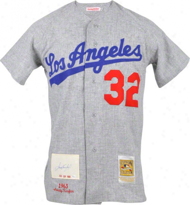 Sandy Koufax Los Angeles Dodgers Autographed Cc Jersey With1963 Patcch
