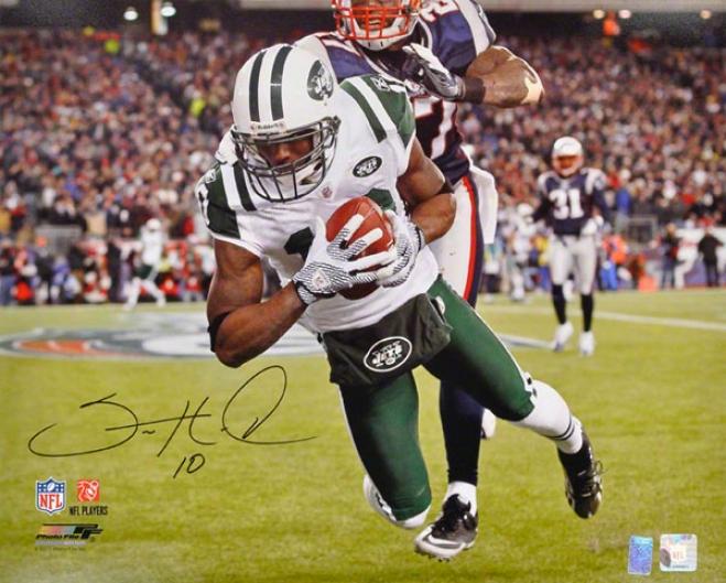 Santonio Holmes Autographed 16x20 Photograph  Details: New York Jeta, Vs. New England Patriots, Horizontal