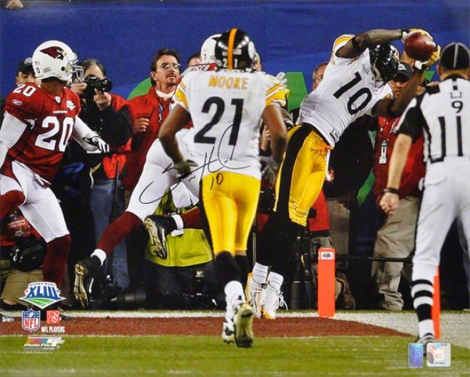 Santonio Holmes Autographed 16x20 Photograph  Particulars: Pittsburgh Steelers, Vs. Arizona Cardinals
