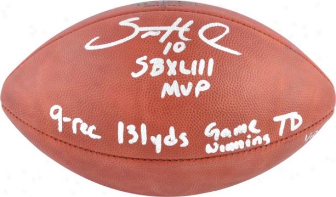 Santonio Holmes Autographed Football  Details: Pittsburgh Steelers, 4 Inscriptions