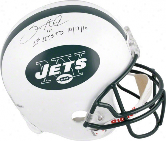 Santonio Holmes Autographed Helmet  Details: New York Jets, Inscription &quot1 Jets Td 10-17-10&quot, Riddell Replica Helmet