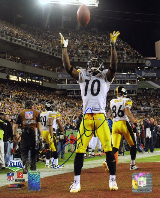 Santonio Holmes Pittsburgh Steelers Sb Xiii Autographed 8x10 Photograph