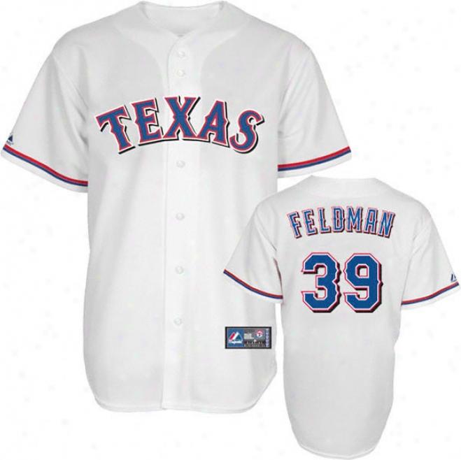 Scott Feldman Jersey: Adult Mauestic Home White Replicq #39 Texas Rangers Jersey