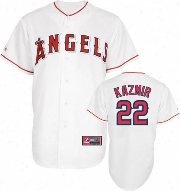 Scott Kazmir Jersey: Adult Majestic Home White Repica #22 Los Angeles Angels Of Anaheim Jersey
