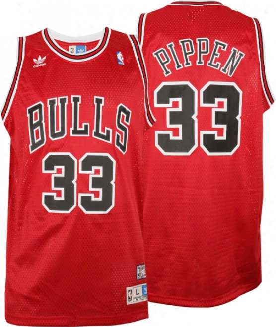 Scottie Pippen Jersey: Adidas Red Throwback Swingman #33 Chicago Bulls Jersey
