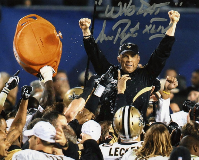 "Sean Payton New Orleans Saints Super Bowl Xliv Autographed 8x10 Photo W/ â€å""who Dat Xlivã¢â'¬? Inscription"