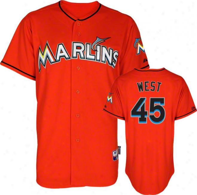 Sean West Jersey: Miami Marlins #45 Alternate Firebrick Authentic Cool Baseã¢â�žâ¢ Jersey