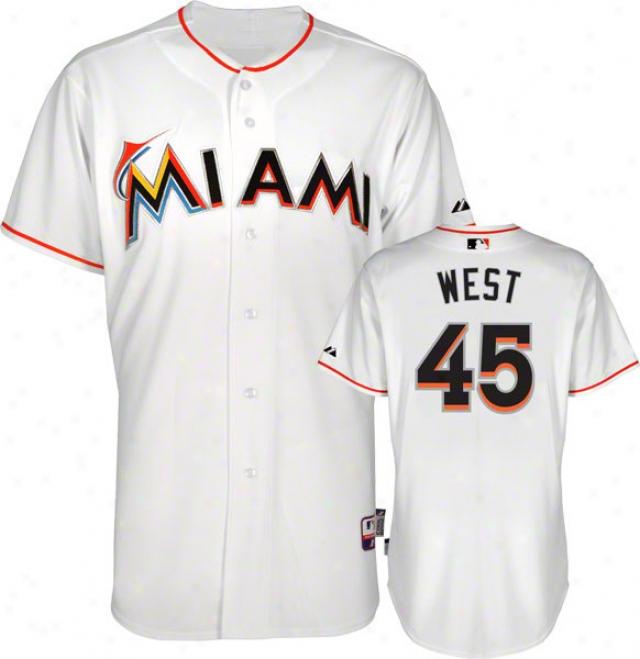 Sean West Jersey: Miami Marlins #45 Hoe White Authentic Cool Baseã¢â�žâ¢ Jersey