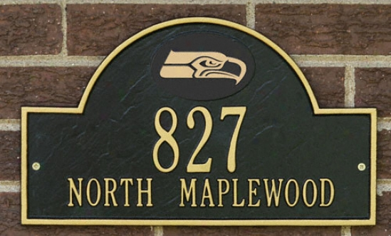 Seattle Seahawks Black And Gold Personalized Address Wall Plaque