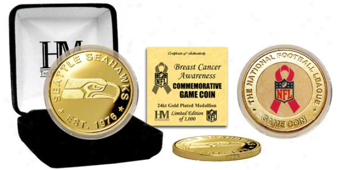 Seattle Seahawks Breast Cancer Awareness 24kt Gold Game Coin