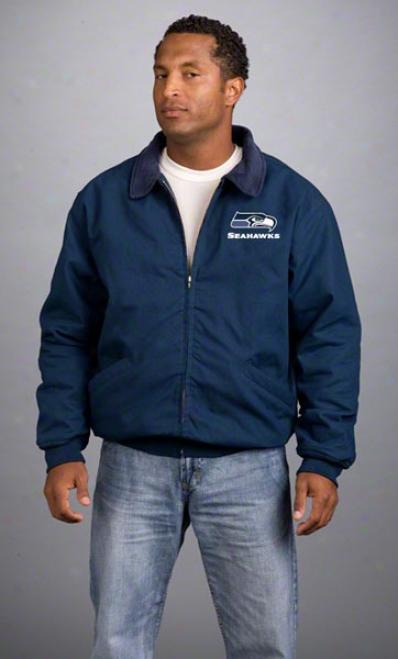 Seattle Seahawks Jaket: Navy Reebok Saginaw Jacoet