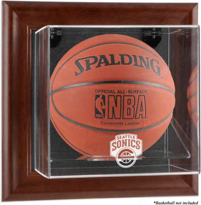 Seattle Supersonics Framed Wall Mounted Logo Basketball Display Case