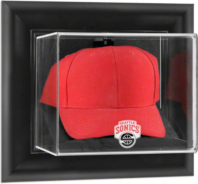 Seattle Supersonics Framed Wall Mounted Logo Cap Display Case