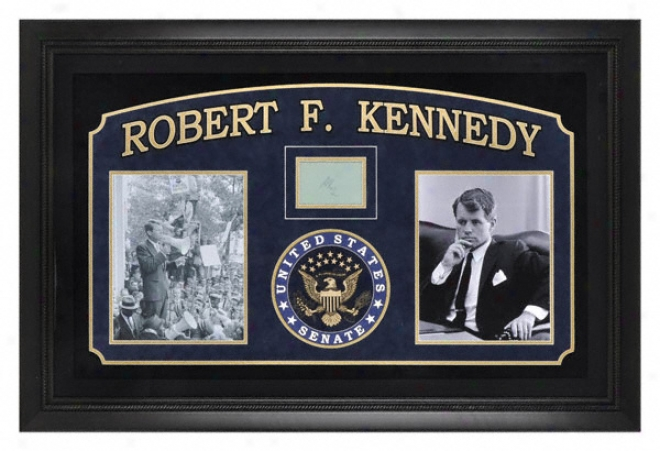 Senator Robert F. Kennedy Framed Photographs With Autograph Cut And Laser Enngraved United States Senate Seal.