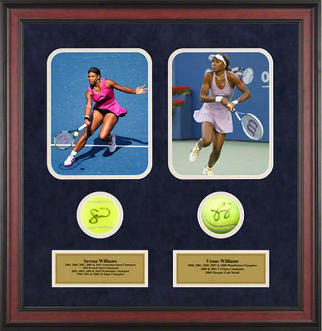 Serena Williams & Venus Williams Framed Autographed Tennis Balls With Photos