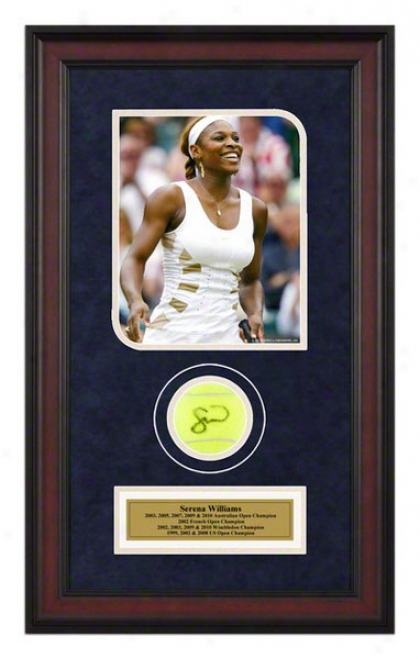 Serena Williams Wimbleon Framed Autographed Tennis Ball With Photo