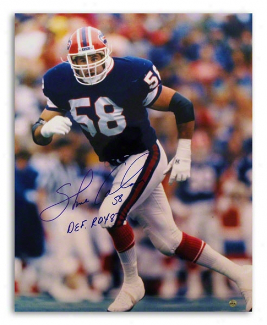 Shane Conlan Autographed Buffalo Bills 16x20 Photo Inscribed &quotdef Roy 87&quot