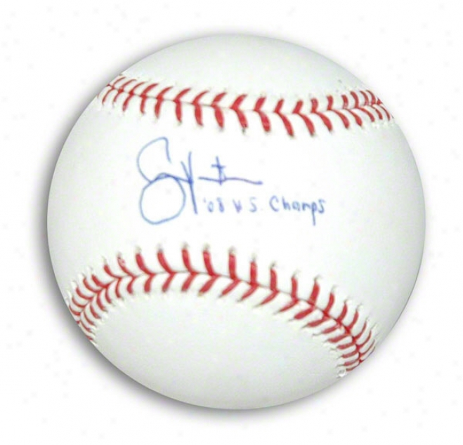Shane Victorino Autographed Mlb Baseball Inscribed 08 Ws Champs