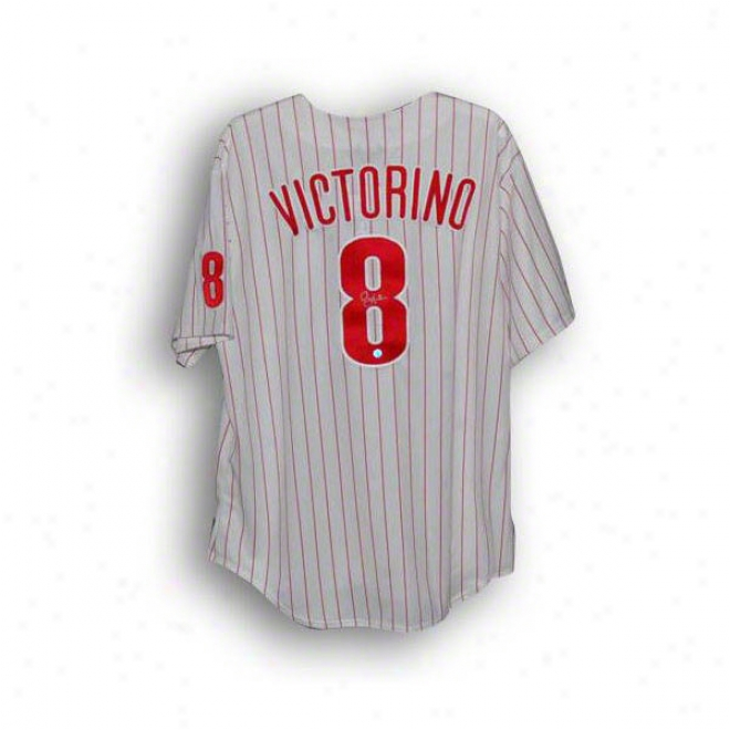Shane Victorino Autographed Philadelphia Phillies Pinstripe Majestic Jersey