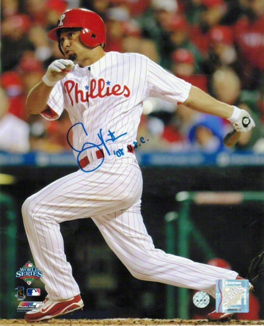 Shane Victorino Philadelphia Phillies Autographed 8x10 Photp Swing Inscribed 08 Wsc