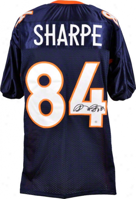 Shannon Sharpe Autographed Jersey  Details: Denver Broncos, Blue, Custom