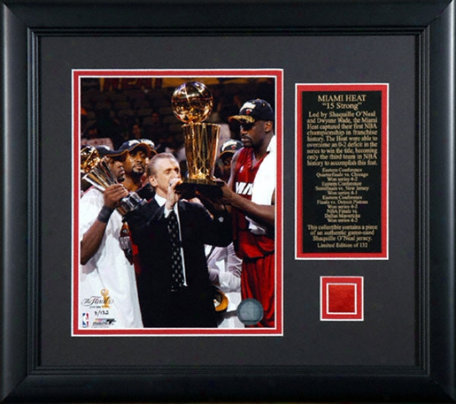 Shaquille O' Neal Miami Heat Framed 2006 Nba Champons 8x10 Photo W/ Game Used Jersey & Plate