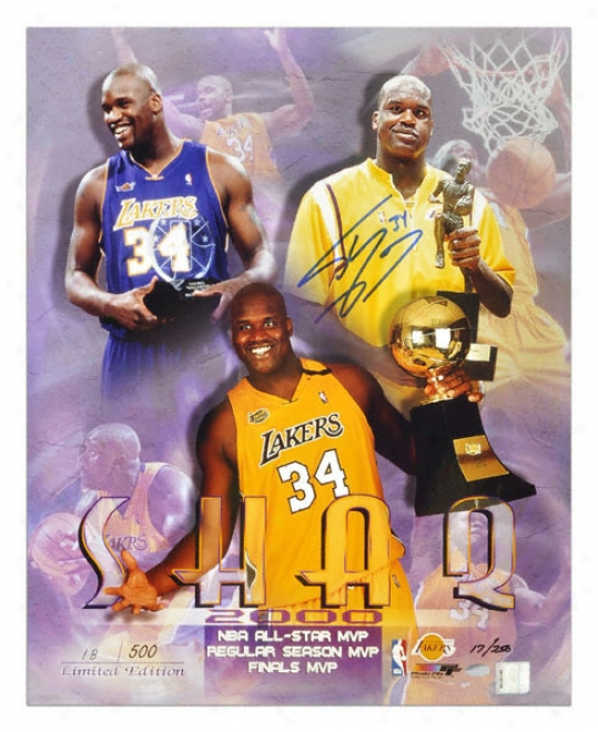 Shaquille O'neal Los Angeles Lakers 16x20 Autographed Mvpphoto Ltd. Ex. 250