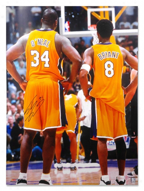 Shaquille O'neal Los Angeles Lakers Autographed 30x40 W/ Kobe Bryant Photo