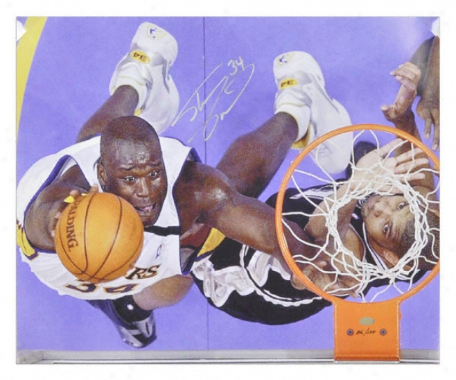 Shaquille O'neal Los Angeles Lakers Autographed Dunk Over Tim Duncan Photo