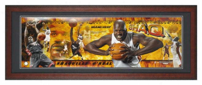Shaquille O'neal Miami Heat Framed Unsigned Panoramic Photograph