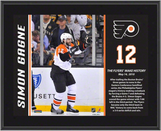 Simon Gagne Plaque  Details: Philadelphia Flyers, Historic Game 7 Goal, Sublimated, 10x13, Nhl Plaque
