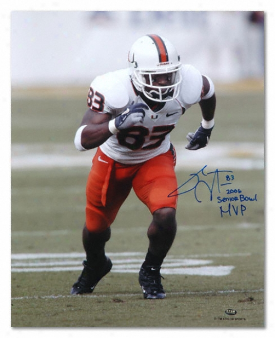 Sinorice Moss Miami Hurricanes Autographed 16x20 Photograph With Senior Goblet Mvp Inscription