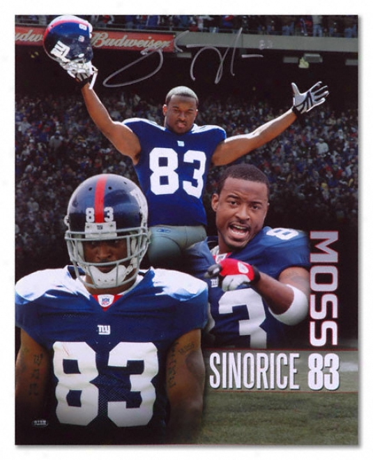 Sinorice Moss New York Giants Autographed 16x20 Photograph