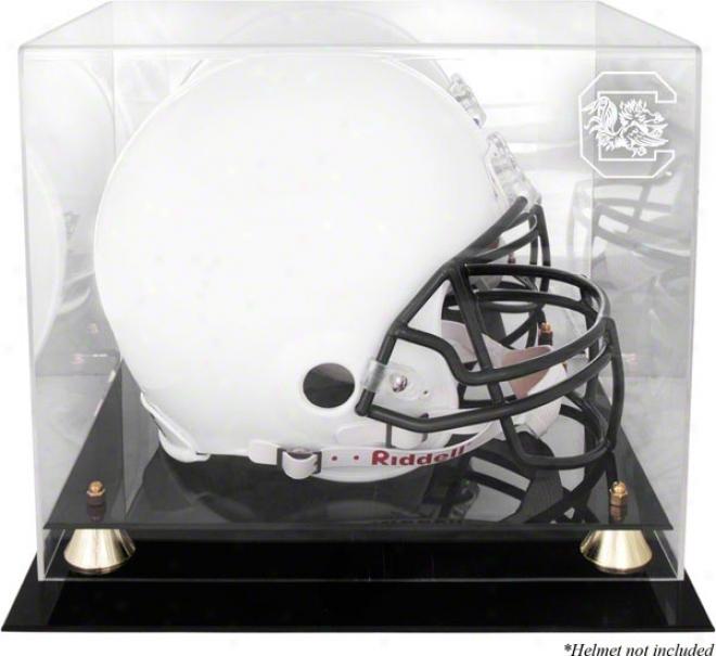 South Carolina Gamecocks Golden Cassic Logo Helmet Display Case With Mirror Back