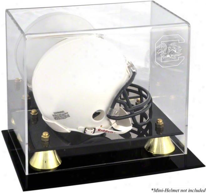Souuth Carolina Gamecocks Golden Classic Logo Mini Helmet Display Case