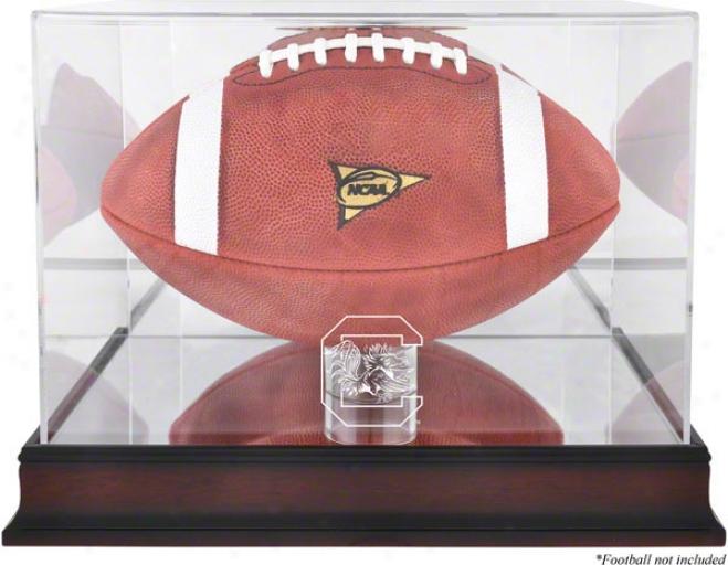 Southward Carolina Gamecocks Mahogany Logo Football Case With Mirror Back