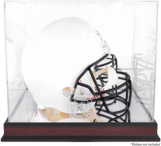 South Carolina Gamecocks Mahogany Logo Helmet Display Case With Reflector Back