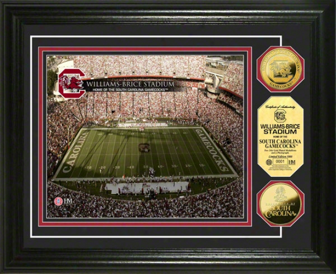 South Carolina Gamecocks Williams Brice Stadium 24kt Gold Coin Photo Mint