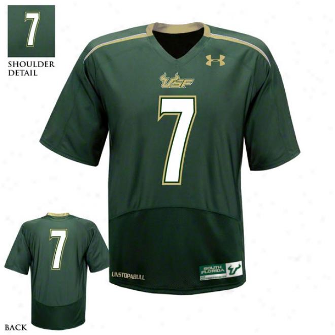 South Florida Bulls Green Bearing Armour Performance Replica Football Jersey: South Florida Bu1ls # Football Jersey