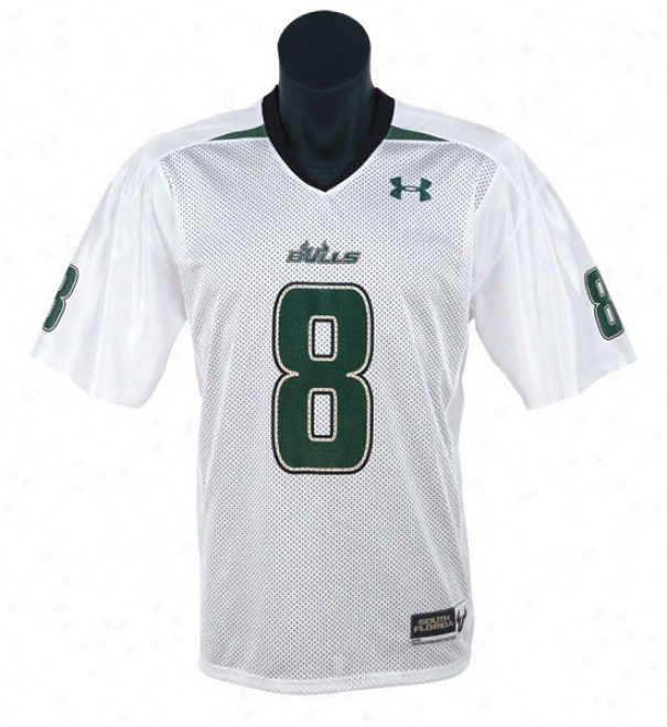 South Florida Bulls -None. 8- White While burdened with Armour Performance Replica Football Jersey