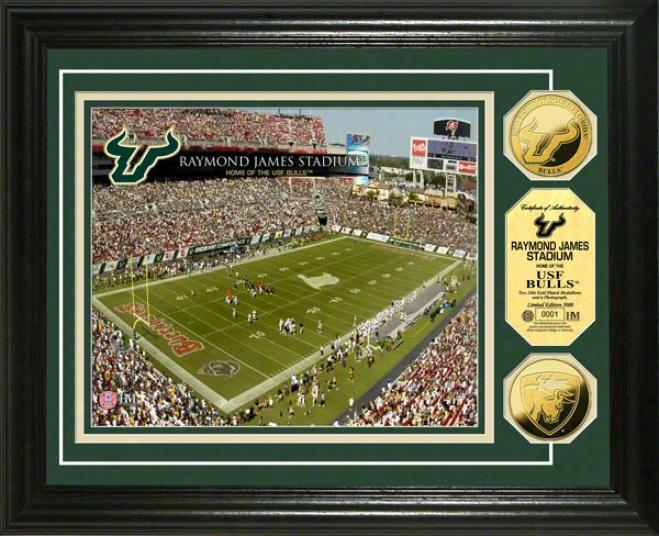 South Florida Bulls Raymond James Stadium 24kt Gold Coin Photo Mint