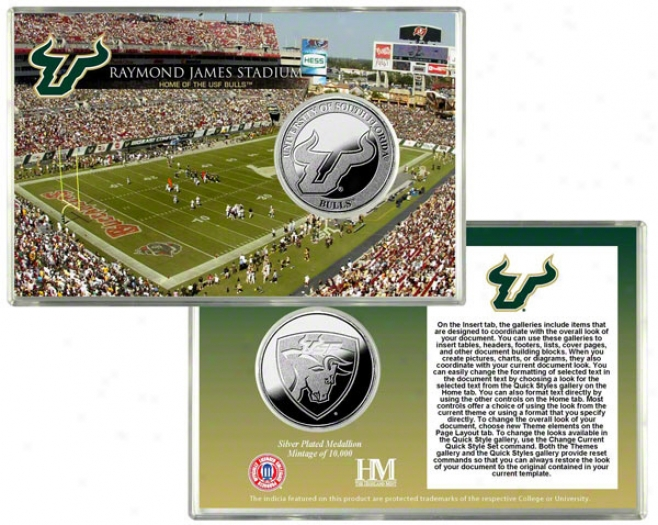 South Florida Bulls Raymond James Stadium Silver Coin Card