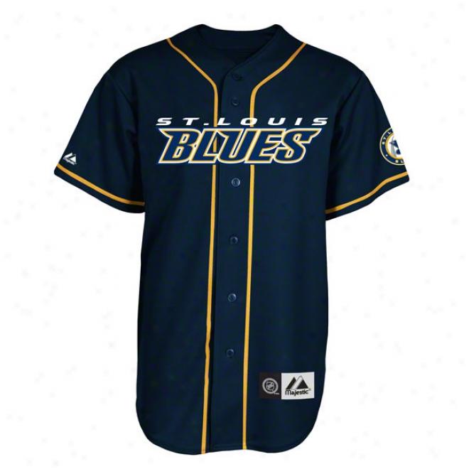 St. Louis Blues Jersey: Navy Nhl Replica Baseball Jersey