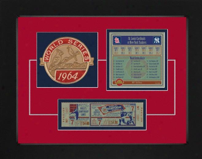 St. Louis Cardinals 1964 World Seies Replica Ticket & Patch Frame