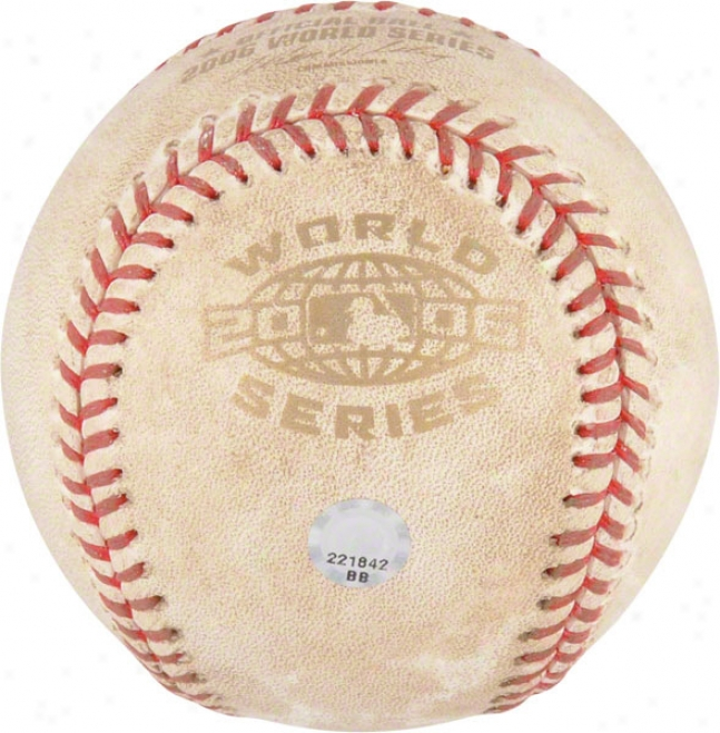 St. Louis Cardinals 2006 World Series Game 1 Vs. Tigers Game Used Basevall