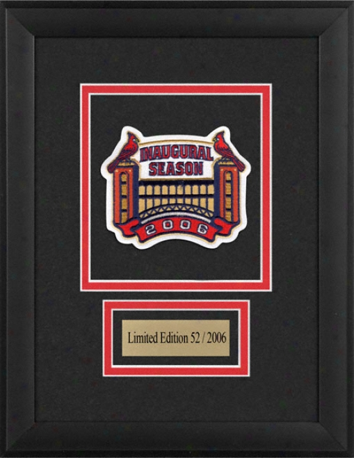St. Louis Cardinals -busch Stadium Inaugural Season- Framed Patch With Palte