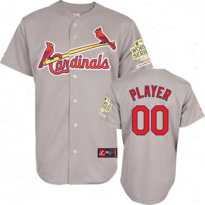 St. Louis Cardinals Jersey: Any Player Road Grey Replica Jersey With 2011 World Series Champions Patch