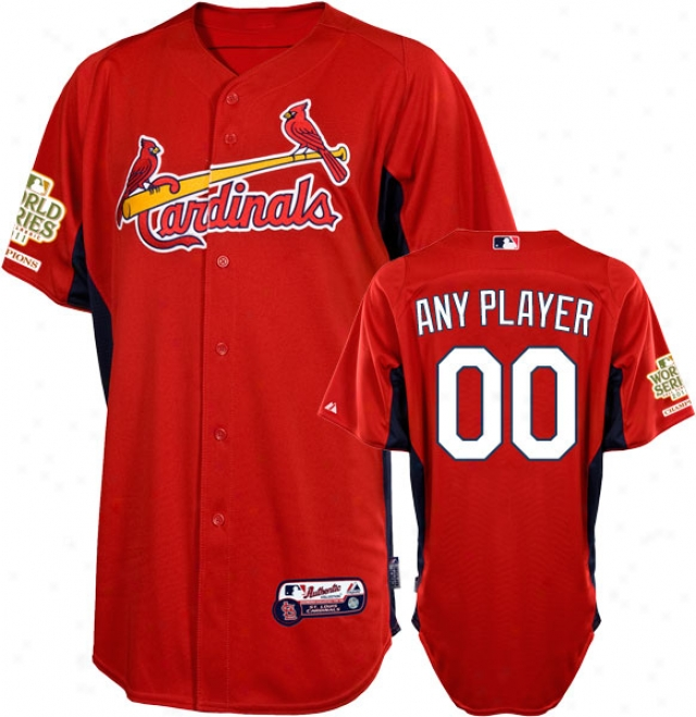 St. Louis Cardinals Jersey: Any Idler Scarlet Authentic Cool Baseã¢â�žâ¢ On-field Batting Practice Jersey With 2011 World Series Champions Patch